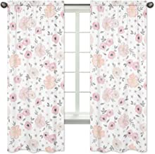 Sweet Jojo Designs 2-Piece Blush Pink Grey and White Window Treatment Panels Curtains for Watercolor Floral Collection by