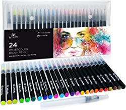 24 Watercolor Paint Brush Pens - Markers for Water Color Calligraphy Lettering and Drawing - Flexible Real Brush Tips - Go...