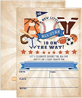 All Star Sports Baby Shower Invitations, Football Baby Shower, Baseball Baby Shower, Basketball Baby Shower, Boy Baby Show...
