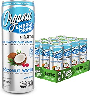Organic Energy Drink By Dark Dog - Coconut Water | 12 Oz (12Count) | Powerful Organic Caffeine From Green Coffee, Green Tea & Guarana | High In Antioxidant Vitamin C From Superfruit Acerola Berry |