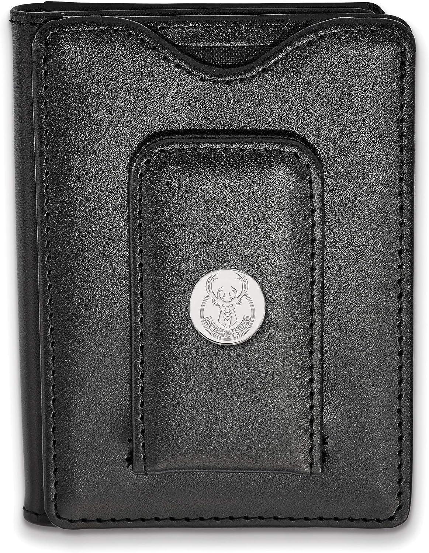 Bonyak Jewelry SS Rhp NBA LogoArt Milwaukee Bucks Black Leather Money Clip Wallet in Sterling Silver