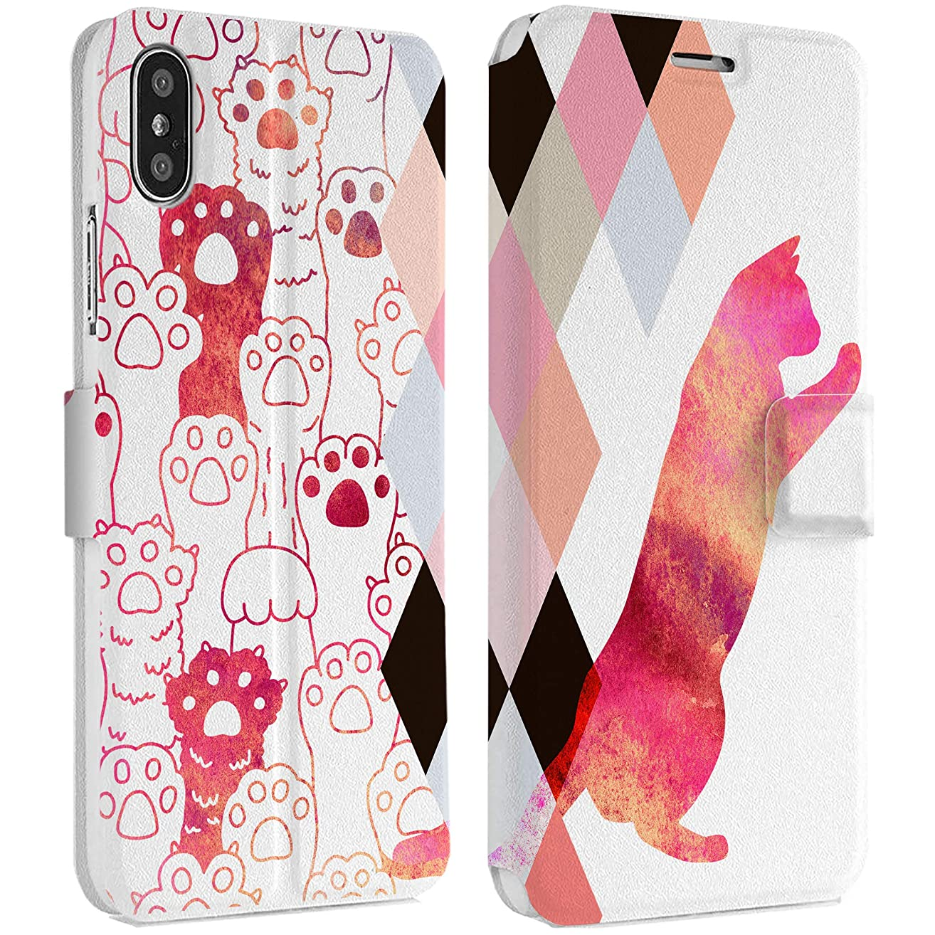 Wonder Wild Cat Paws IPhone Wallet Case X/Xs Xs Max Xr Case 7/8 Plus 6/6s Plus Card Holder Accessories Smart Flip Clear Design Protection Cover Animal Kitten Pet Rhombus Geometrical Pattern Fiery