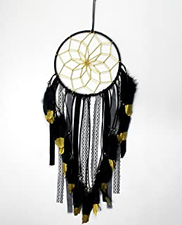 SUIBOBO Dream Catcher Handmade Traditional Black Feather Gold Painting Gold net Wall Hanging Mordern Home Decoration (Black-L)