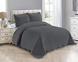 Smart Linen 3 Piece Solid Embossed Coverlet Bedspread Quilt Bedding Set Oversize New # Ashley (Full/ Queen, Charcoal)
