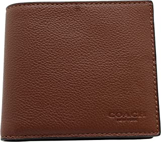 Coach Double Billfold Wallet in Calf Leather (Dark Saddle) - F75084 CWH
