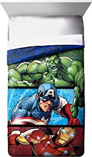 Marvel Avengers Publish Twin Comforter - Super Soft Kids Reversible Bedding features Hulk, Iron Man, and Captain America - Fade Resistant Polyester Microfiber Fill (Official Marvel Product)