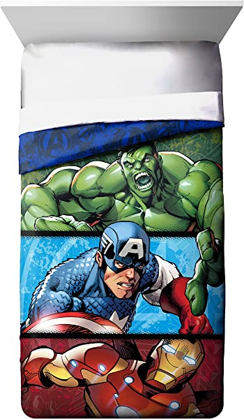 Marvel Avengers Publish Twin Comforter Super Soft Kids Reversible Bedding Features Hulk Iron Man And Captain America Fade Resistant Polyester Microfiber Fill Official Marvel Product