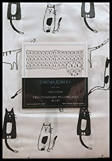Cynthia Rowley CATS KITTY CATS Two Standard Pillowcases Set Artistic Black White Cats