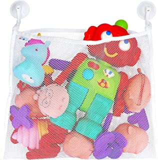 Bath Toy Organizer – Includes Suction Cup Hooks + Adhesive Hooks + Tub Toy Mesh Bag