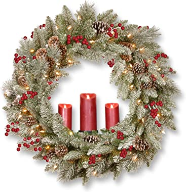 National Tree Bristle Berry Wreath, 36 Inch, Green