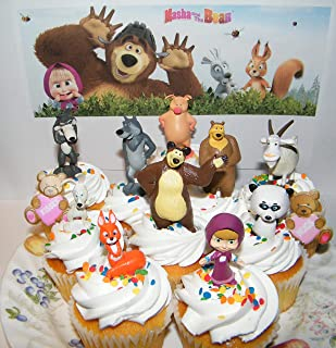 Masha and the Bear Deluxe Cake Toppers Cupcake Decorations 12 Set with 10 Figures and 2 Fun BearRings Featuring Silly Wolf, Bear, Panda, Masha, Lady Bear and More!