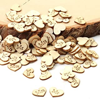 Andaz Press Engraved Natural Wood Heart Table Confetti, Mr. & Mrs, 100-Pack, for Wedding Engagement Bridal Baby Shower Rus...