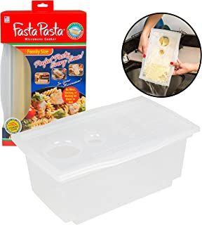 Microwave Pasta Cooker- The Original Fasta Pasta Family Size- Cooks up to 8 Servings of Pasta- No Mess, Sticking, or Waiting for Water to Boil