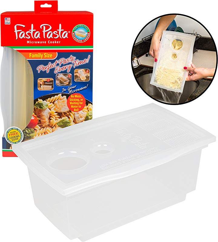 Microwave Pasta Cooker The Original Fasta Pasta Family Size Cooks Up To 8 Servings Of Pasta No Mess Sticking Or Waiting For Water To Boil