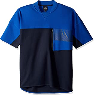 A X Armani Exchange Men's Short-Sleeve Zipper Pocket Sweatshit, Navy/Marine, M