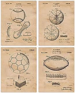 Vintage Baseball Football Soccer Basketball Patent Poster Prints, Set of 4 (8x10) Unframed Photos, Wall Art Decor Gifts Un...