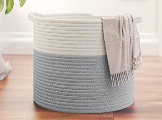 "Organizix Medium Cotton Rope Storage Basket Bin with Handles, 14""L x 12""W x 10""H, Baby Nursery Laundry Basket Hamper, Toy ..."