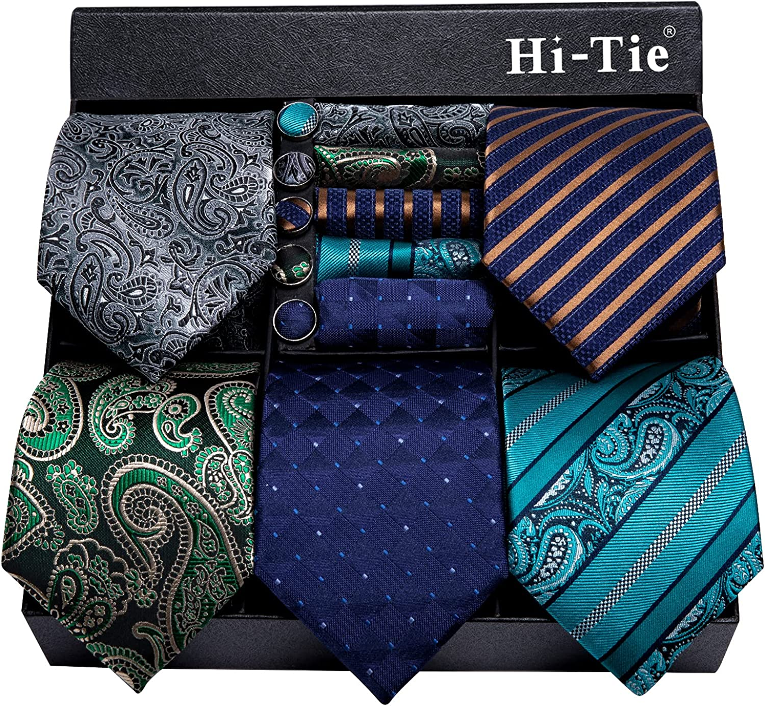 Hi-Tie 5 Pcs Mens Silk Tie Set in Gift Box Classic Necktie with Pocket Square and Cufflinks Set Collection