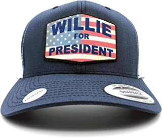 EXIT82ART - Trucker Hat - Willie for President, Navy/White/Curved Bill, Yupoong Snapback.