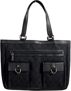 ac0843ad69bd Gucci Women's Black GG Print Canvas Leather Trimmed Abbey Pocket Tote Bag