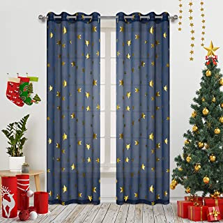 Romantic Starry Sky Theme Draperies 2 Panels Grommet Top Window Treatment with Twinkle Gold Stars Thin and Soft Curtains for Living Room/Kid's Room 84 inch Length Set of 2 Navy Blue
