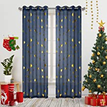 Romantic Starry Sky Theme Draperies 2 Panels Grommet Top Window Treatment with Twinkle Gold Stars Thin and Soft Curtains for Living Room/Kid's Room 63 inch Length Set of 2 Navy Blue