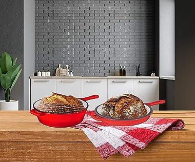 Enameled Red 2-In-1 Cast Iron Multi-Cooker By Bruntmor – Heavy Duty 3 Quart Deep Skillet and Lid Set, Versatile Healthy Desig