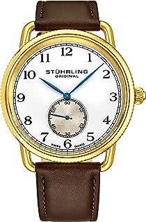 Stuhrling Original Classic Dress Wrist Watch for Men, Swiss Analog Stainless Steel Quartz Wristwatch with Genuine Leather Strap