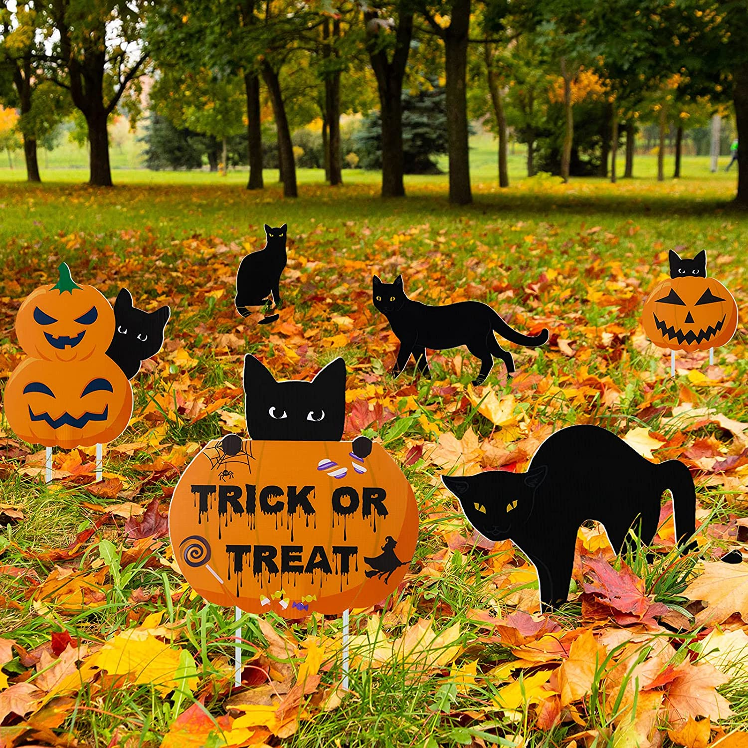 6 Pieces Halloween Black Cat Yard Signs with Stakes Black Cat Silhouette Decorative Garden Statue Garden Scare Cats with Reflective Eyes Trick or Treat Cat Pumpkin Lawn Decor for Party Patio Supplies