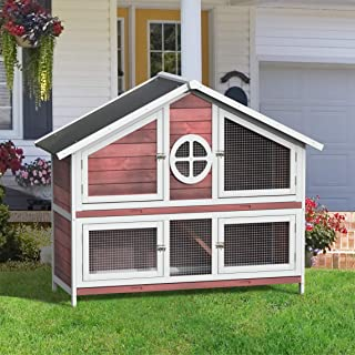 LZ LEISURE ZONE Purlove Rabbit Hutch Wood House Pet Cage for Small Animals (Rabbit Hutch #3)