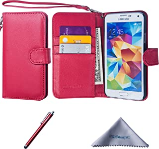 Wisdompro Galaxy S5 Case, Premium PU Leather 2-in-1 Protective Flip/Folio Wallet Case with Multiple Credit Card/ID Card Holder/Slots and Wrist Lanyard for Samsung Galaxy S5 - Red