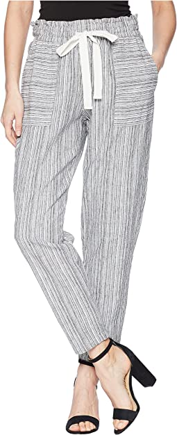 Slim Leg Pull-On Drawstring Stripe Pants