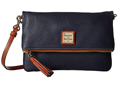 Dooney & Bourke Pebble Fold-Over Zip Crossbody (Midnight Blue w/ Tan Trim) Cross Body Handbags