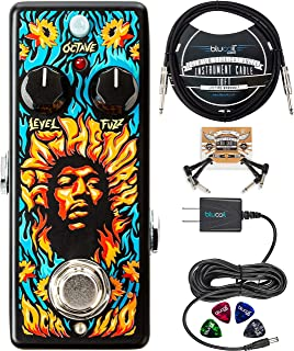 MXR JHW2 Authentic Hendrix '69 Psych Series Octavio Fuzz Pedal Bundle with Blucoil Slim 9V 670ma Power Supply AC Adapter, 10-FT Mono Instrument Cable, 2x Patch Cables, and 4x Guitar Picks
