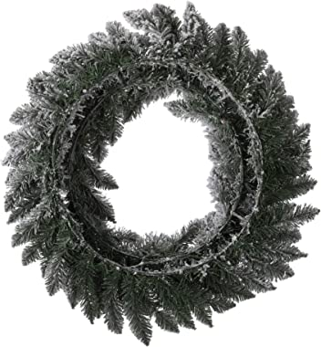 """glitzhome 24"""" Christmas Snow Flocked Wreath with 2Pcs Artificial Xmas Snow Garlands Ornament Pine Needle Holiday Hang Dec"""