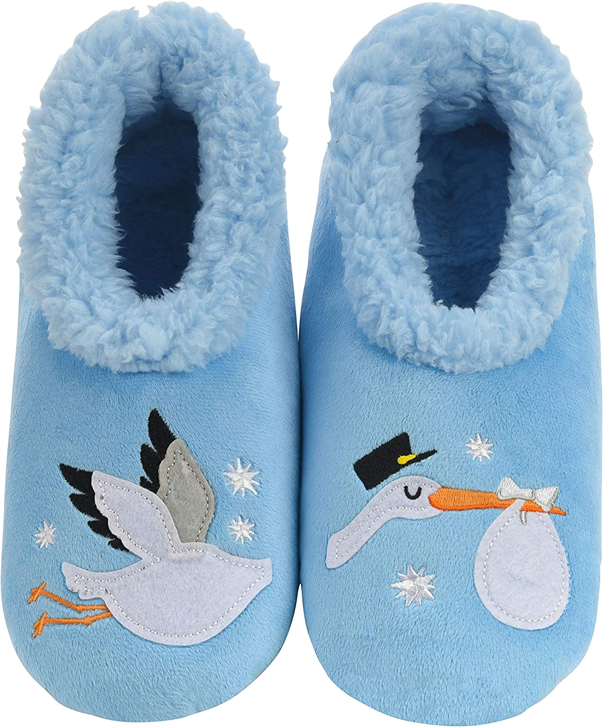 Snoozies Womens Slipper Socks - Gender Reveal Slippers - Cozy Slippers for Women - Fuzzy House Slippers for Indoor Use - Soft Sole Slipper