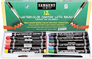 Sargent Art 22-1112 12-Count Water Color-Crayons with Brush,Assorted Colors