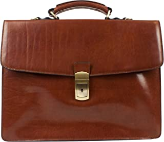 Leather Briefcase Elegant Business Style Up to 15'' Laptop Size Bag Brown - Time Resistance