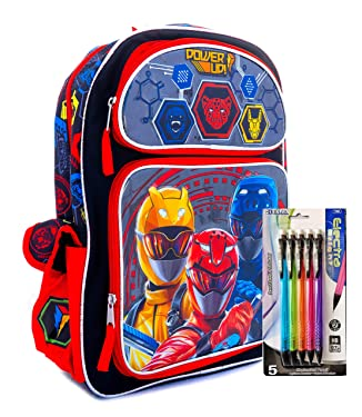 Bundle - 2 Piece Power Ranger 16 Inch Backpack and Lead Pencil School Bag, Travel Bag