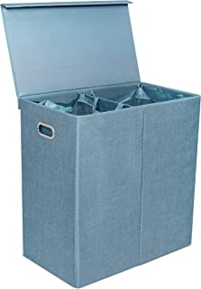 BirdRock Home Double Laundry Hamper with Lid and Removable Liners - Light Blue - Linen - Easily Transport Laundry - Foldable Hamper - Cut Out Handles