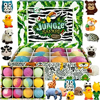 Bath Bombs for Kids with Toys Inside - Set of 12 Organic Bubble Bath Fizzies with Jungle Animal Toys. Gentle and Kids Safe...