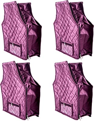 "Annapurna Sales Blouse Cover Satin Material 5"" Height Side Transparent Large Wardrobe Organizers Combo Pack of 4 Pcs, Purple"