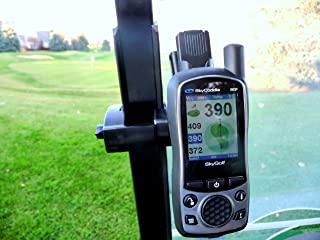 Golf Cart Holder/Mount for SkyCaddie, sg5, SGX, SGXw, Touch, Aire Gimme. Slide The Belt Clip Button on The Back of Your skycaddie into The Mount. On SGX GPS Unit The Button Snaps onto Your GPS.