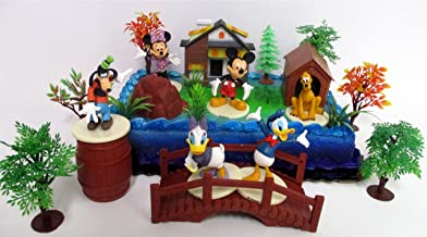 Mickey Mouse Clubhouse Birthday Cake Topper Featuring Mickey Mouse, Minnie Mouse, Donald Duck, Daisy Duck, Goofy, Pluto, and Other Themed Decorative Cake Pieces
