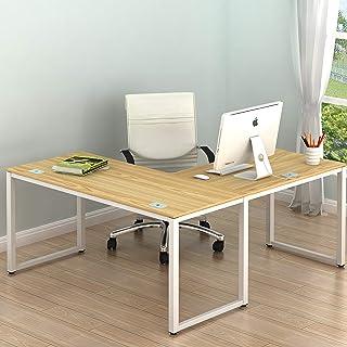 SHW Home Office 55x60 Large L Shaped Corner Desk, Oak