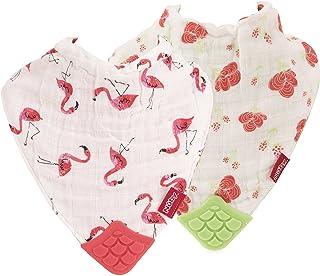 Nuby 2 Piece Reversible 100% Natural Cotton Muslin Teething Bib, Flamingo/Flowers, Pink/Green