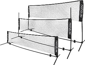 AKOZLIN Portable Adjust Height 2.8-5ft Tennis Badminton Volleyball Net Set - Net for Tennis, Soccer Tennis, Pickleball, Kids Volleyball for Indoor or Outdoor Court, Beach, Driveway