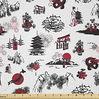 Lunarable Asian Fabric by The Yard, Pattern with Thumbnail Symbolizing The Japanese New Year Fireworks Sun, Microfiber Fab...