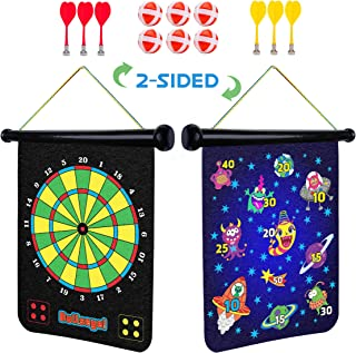 Magnetic Dart Board for Kids - 2 Sided Roll Up Dartboard, Indoor Games for Kids with 6 Magnetic Darts and 6 Balls