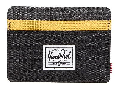 Herschel Supply Co. Charlie RFID (Black Crosshatch/Black Ripstop/Blazing Orange) Wallet Handbags